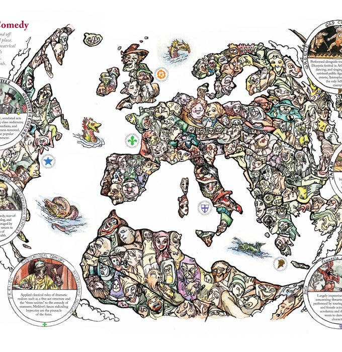 Map showing comedic theater tropes from around the world.