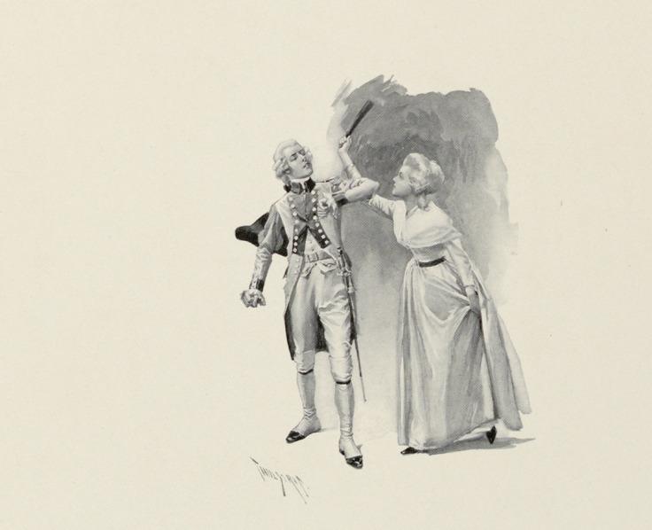 Lady in Colonial Dress Striking a Gentleman with Her Fan, by Thure de Thulstrup, 1895.