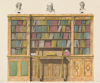 Bookcase with a secretary, by anonymous, after Michael Angelo Nicholson, 1827. Rijksmuseum.