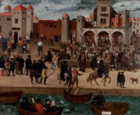 Chafariz d'el Rey in the Alfama District (View of a Square with the King's Fountain in Lisbon), by anonymous, c. 1570–80. Wikimedia Commons, Berardo Collection Museum.