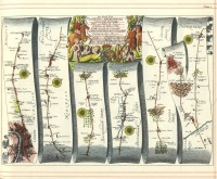 John Ogilby's 1675 road map from London to Aberiswith. It is a plate from a book, showing a drawing of a scroll. The scroll begins at the bottom left corner of the page and then loops up and down across the page until it reaches the top right corner.