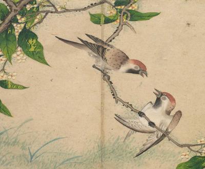 Gossiping Sparrows, by Zhang Ruoai, eighteenth century.