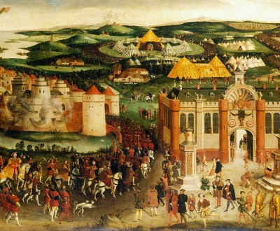 The Field of the Cloth of Gold, by an unknown English painter, c. 1545. Royal Collection.