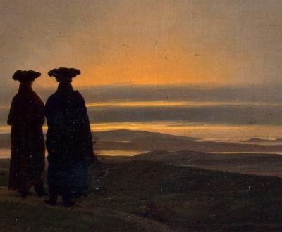Evening Landscape with Two Men by Caspar David Friedrich.