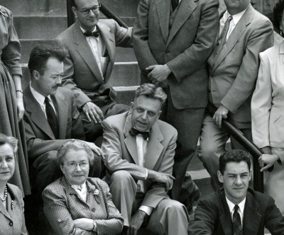 The project staff of the Institute for Sex Research, Alfred C. Kinsey seated center, Indiana University, August 1953.