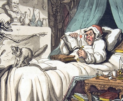 """""""The Antiquary's Last Will and Testament"""" from The English Dance of Death, by Thomas Rowlandson, 1814."""