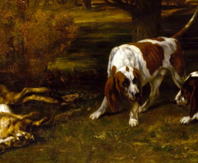 Hunting Dogs with Dead Hare, by Gustave Courbet. 1857.