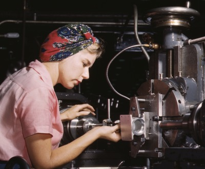 Women become skilled shop technicians after careful training in the school at the Douglas Aircraft Company plant, Long Beach, CA, photograph by  Alfred T. Palmer, 1942. Library of Congress.