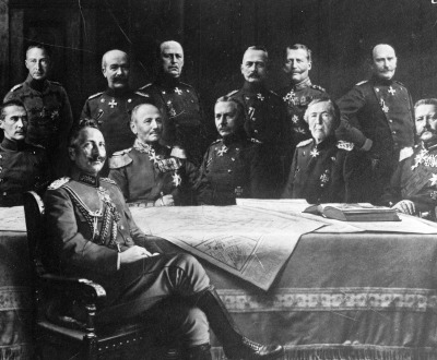 A composite image of Kaiser Wilhelm II and his Generals, c. 1914.
