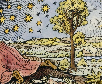 Medieval missionary discovering the point where heaven and earth meet, twentieth-century coloration of black-and-white engraving from The Atmosphere, by Camille Flammarion, 1888.
