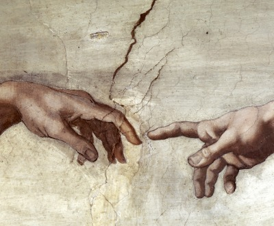 Creation of Adam (detail), Sistine Chapel Ceiling, by Michelangelo, c. 1508–1512. Vatican City, Rome, Italy.