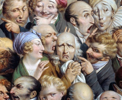Painting of thirty-five expressive heads.