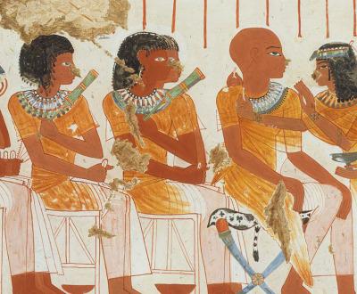 Guests at a Banquet, tempera facsimile by Nina de Garis Davies after a fourteenth-century-BC Egyptian frieze, c. 1920.
