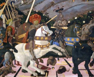 Niccolò Mauruzi da Tolentino at the Battle of San Romano , by Paolo Uccello, c.1435–1460. National Gallery, London.