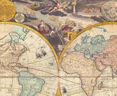 Mappe-Monde ou Carte Genérale de la Terre Divisée en Deux Hémispheres, by Nicolas de Fer, first published in 1694.