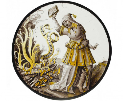 Roundel with allegorical scene of book burning, North Netherlandish, c. 1520.