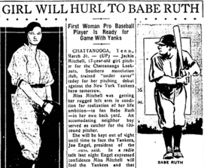"""""""Girl Will Hurl to Babe Ruth,"""" Austin Statesman, March 31, 1931."""