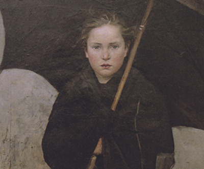 Painting of a young woman holding an umbrella. The Umbrella, by Marie Bashkirtseff, 1883. Wikimedia Commons, State Russian Museum.