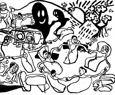 die Seuche (epidemic) (detail), by Paul Chan, 2020
