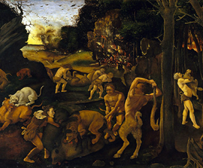 A Hunting Scene (detail), painting by Piero di Cosimo, c. 1494–1500. The Metropolitan Museum of Art, Gift of Robert Gordon, 1875.