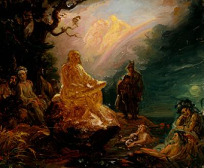 Väinämöinen Playing, by Robert Wilhelm Ekman. Finnish National Gallery.
