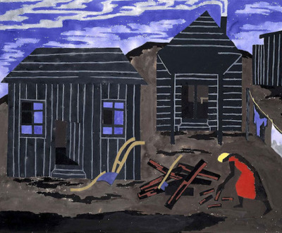 A painting. A woman gathers firewood into a pile in front of two small houses and a clothing line. The sky is purple and streaked with clouds.