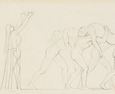 Detail of Seven Chiefs Against Thebes, pen and ink drawing by John Flaxman.
