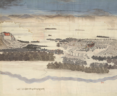 Watercolor of Lhasa, Tibet, c. 1850. Wellcome Collection (CC BY 4.0).