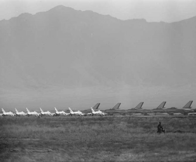 Rows of airplanes on an airfield in Kabul, Afghanistan, 1959. Photograph by Thomas O'Halloran.