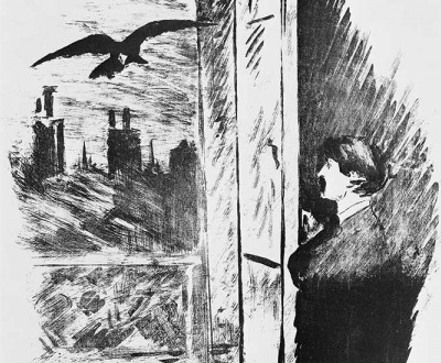 "Open Here I Flung the Shutter (detail), illustration to Edgar Allan Poe's ""The Raven,"" by Edouard Manet, 1875."