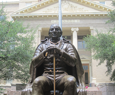 Statue of José Antonio Navarro, Navarro County Courthouse, Corsicana, Texas. Photograph by Billy Hathorn, CC BY-SA 3.0.