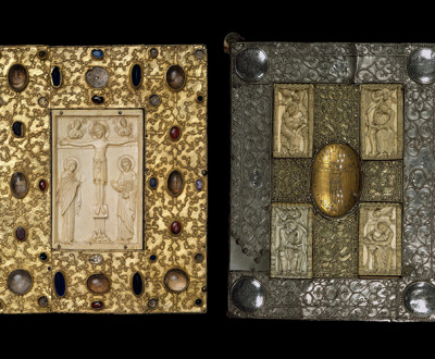 Book cover with Byzantine icon of the Crucifixion produced for the nunnery of Santa Cruz de la Serós, Spain, c. 1085; treasure binding with the Evangelists and the Crucifixion by Othlon of Regensburg, c. 1030–50.
