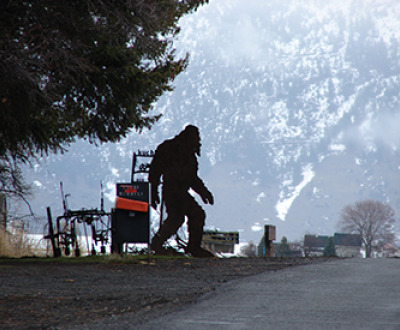 Photograph of Bigfoot sculpture in Summerville, Oregon, 2019, by Old White Truck. Flickr (CC BY-SA 2.0).