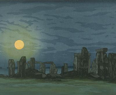 Stonehenge (Moonlight), by Yoshijiro Urushibara (Mokuchu), twentieth century. Fine Arts Museums of San Francisco, California State Library loan.
