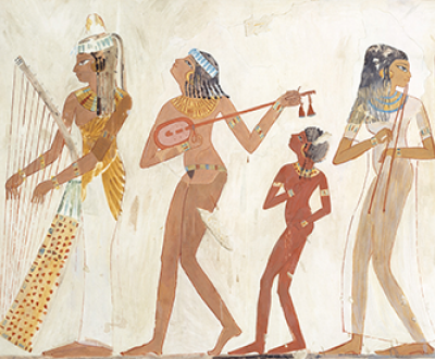Facsimile painting of a troupe of female musicians from a c. 1400–1390 bc banquet scene in the tomb of Djeserkaraseneb at Thebes, by Charles K. Wilkinson, 1920–21. The Metropolitan Museum of Art.