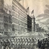The 7th New York Militia Regiment marches down Broadway, an illustration from Harper's Weekly, 1861.