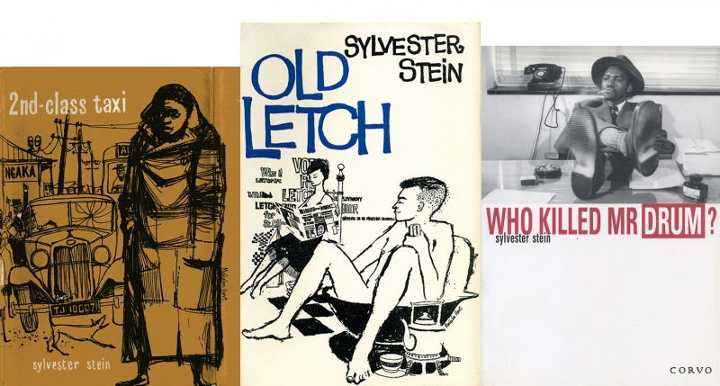 Covers of Sylvester Stein's novels Second-Class Taxi (1958) and Old Letch (1959) and memoir Who Killed Mr. Drum? (1999). Courtesy of Sarah Cawkwell.