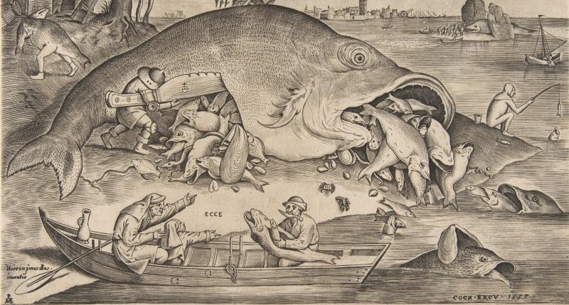 "Detail of ""Big Fish Eat Little Fish,"" by Pieter Bruegel the Elder, engraving by Pieter van der Heyden, 1557."