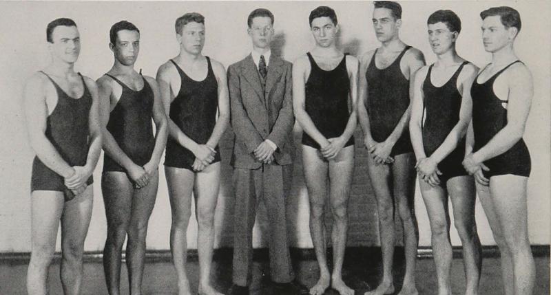 The 1938 Johns Hopkins swim team, with Murray Kempton (in suit) in center, from The Johns Hopkins Hullabaloo. Ferdinand Hamburger Archives, Sheridan Libraries, Johns Hopkins University.