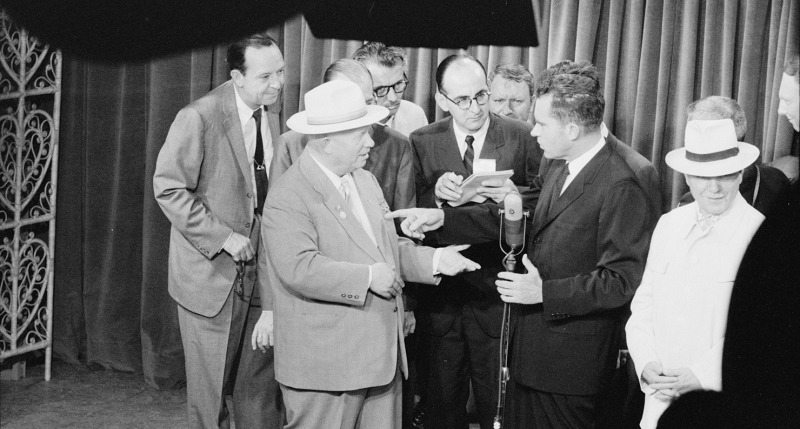 Premier Nikita Khrushchev and Vice President Richard Nixon on TV at the opening of the American National Exhibition, Moscow, 1959. Photograph by Thomas J. O'Halloran. Library of Congress Prints and Photographs Division, U.S. News & World Report Magazine P
