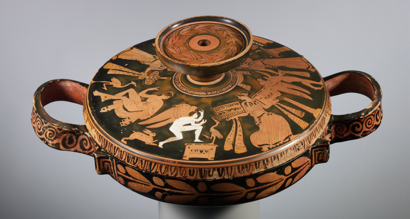 Women, youths, and Erotes appear on the lid of this terra-cotta lekanis (covered dish), connected with the Otchët Group, c. 400 BC. The Metropolitan Museum of Art, Rogers Fund, 1917.