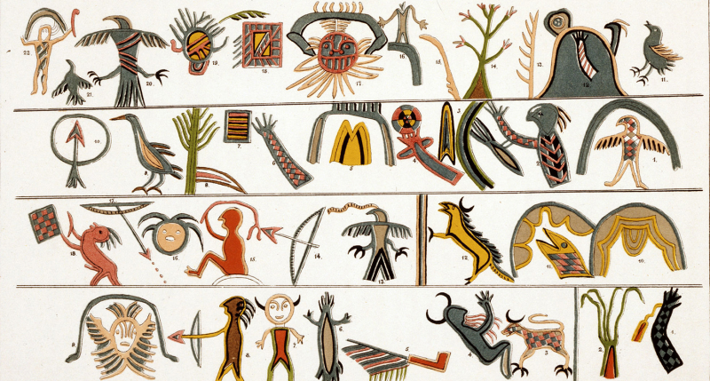 Pictorial notation of an Ojibwa music board, illustration on birchwood slab, collected in northern Great Lakes area, c. 1820. Chromolithograph by James Ackerman, after a watercolor drawing by Seth Eastman, in Historical and Statistical Information Respect