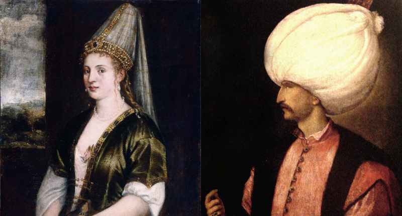 (L) La Sultana Rossa, by Titian, c. 1550. Ringling Museum of Art, Sarasota. (R) Sultan Suleiman the Magnificent, by Titian, c. 1530–50. Kunsthistorisches Museum.