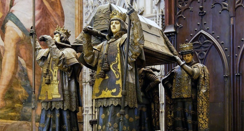 Tomb of Columbus in Seville Cathedral.