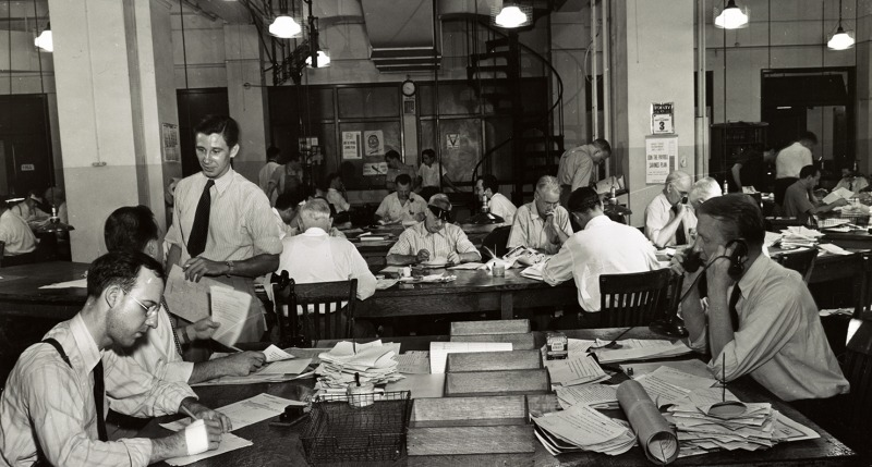 Newsroom of the New York Times, 1942.