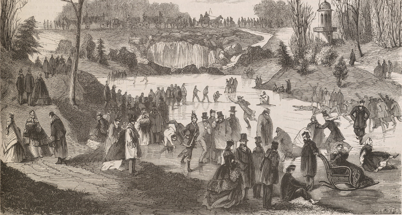 Ice skating on the Bois de Boulogne, by H. Sto, 1861. Brown University Library for Digital Scholarship.