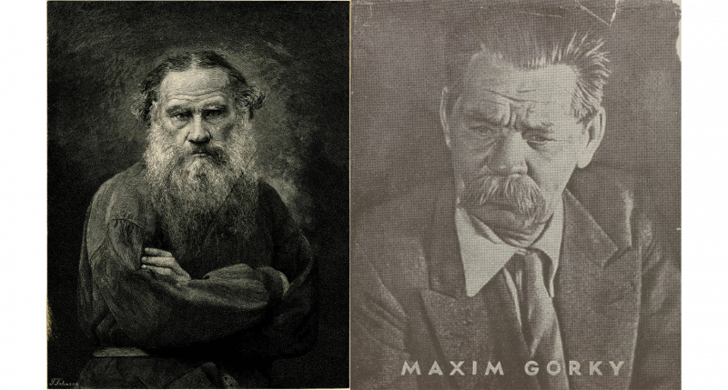 Portrait of Leo Tolstoy from a wood engraving by T. Johnson, c. 1895–1905; cover of Articles and Pamphlets by Maxim Gorky, from In Our Time: Covers for a Small Library After the Life for the Most Part, 1969–1970. British Museum.