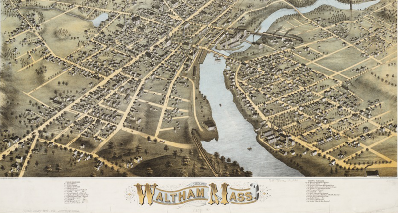 View of Waltham, Massachusetts, O.H. Bailey & Co., 1877.