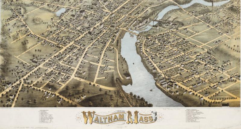 View of Waltham, Massachusetts, O.H. Bailey & Co., 1877.