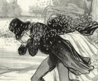 Man and Woman Being Chased by Bees (detail), by Honoré Daumier. The New York Public Library, Art and Picture Collection.